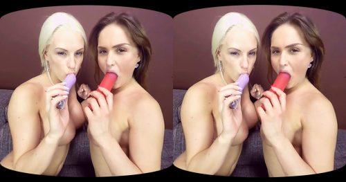 Blonde & Brunette Lesbian Pussy-Licking VR Porn Movie
