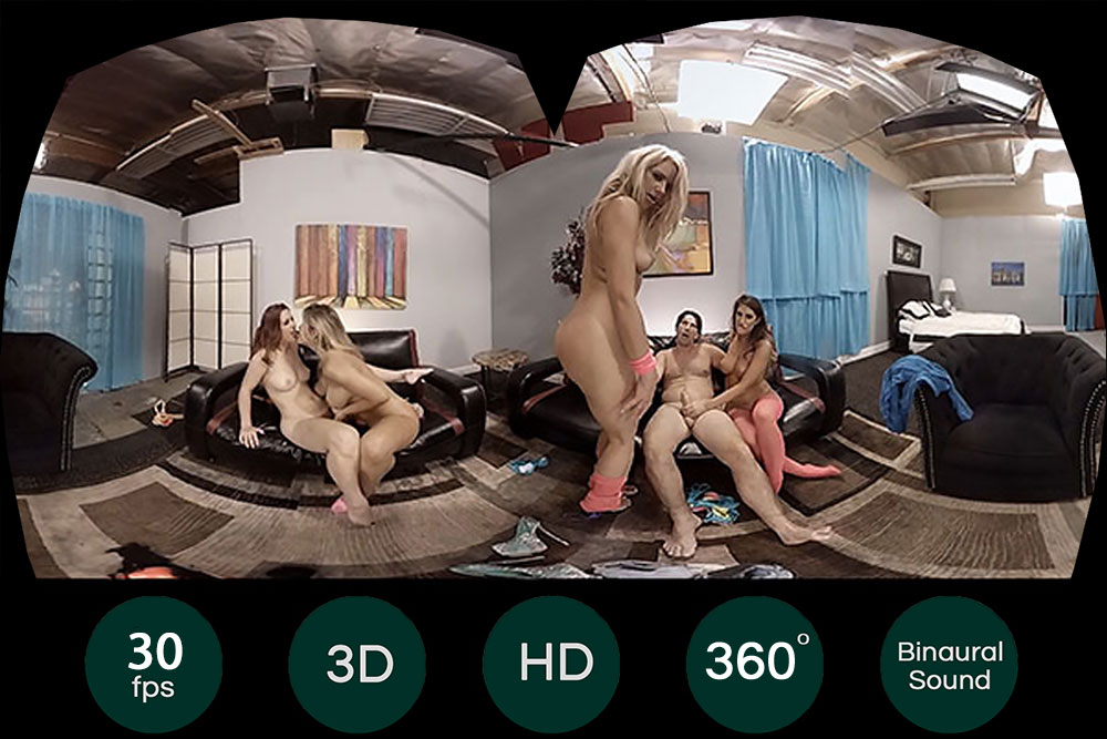 One Guy Fucks 4 Pussies Gang Bang VR Porn Movie