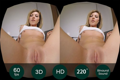 Blonde Babe With Small Tits Shows Her Pussy VR Porn Movie