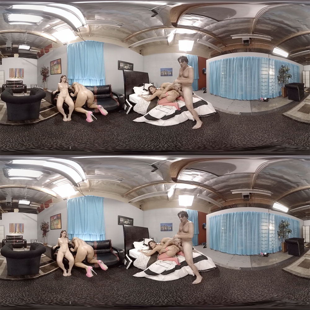 One Guy Fucks 4 Pussies Gang Bang VR Porn Movie