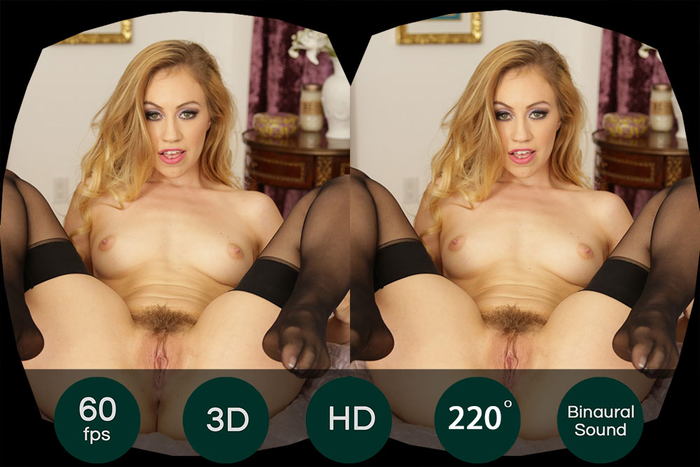 Hot Blonde Sex Show in Black Stockings VR Porn Movie