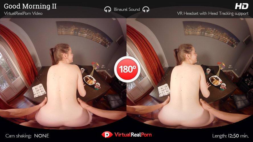 Fuck Cute Brunette on Table VR Porn Movie