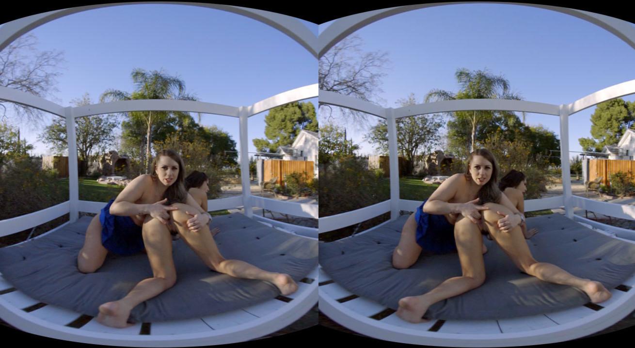 Outdoor Lesbian Show Of 2 Brunette Hotties VR Porn Movie