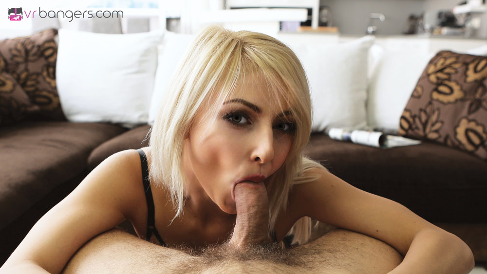 Fuck Slim Blonde in Black Stockings VR Porn Movie